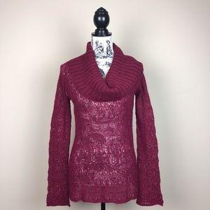 ANTHROPOLOGIE Alpaca Open Knit Cowl Neck Sweater